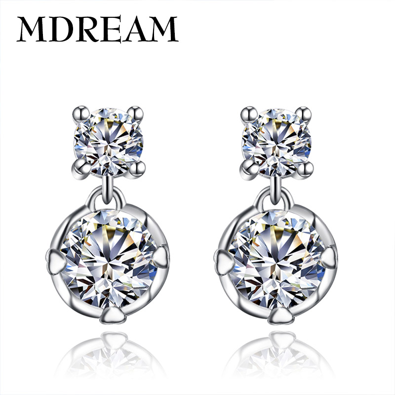 2016 new wholesale White gold plated Vintage fashion Earrings for Women AAA Zircon Wedding Elegant lady party LSE044(China (Mainland))