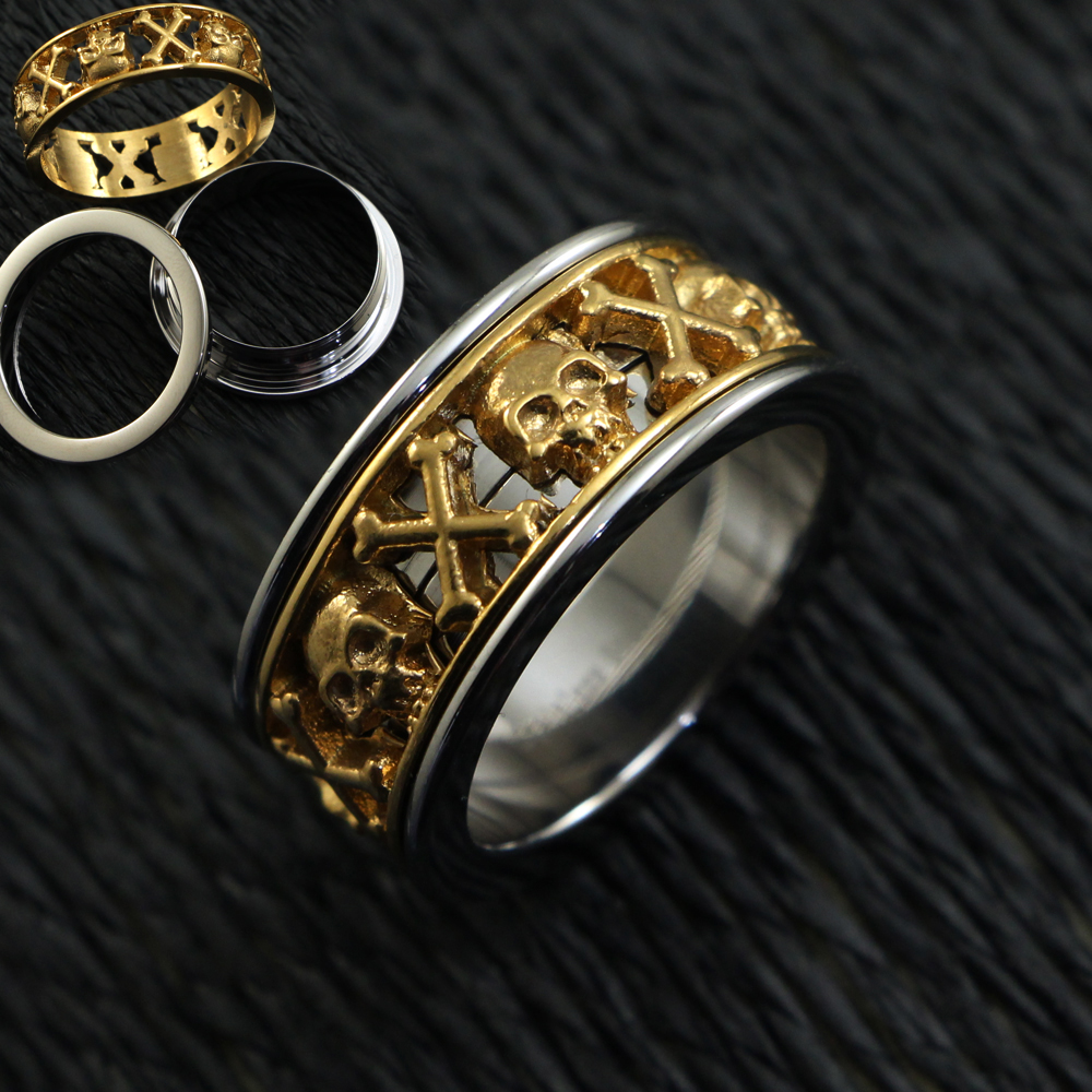 Baifu Jewelry New Attitude Fashion Women Men Jewelry 316L Stainless Steel Sliver Gold Punk skull Rings ,Rings Size Just 7# 10#(China (Mainland))