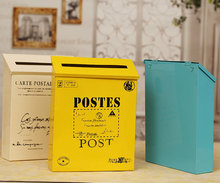 New arrival  Rustic metal outdoor Mailbox /newspaper boxes mail box postal mail box/photo props( six color option)free shipping(China (Mainland))
