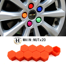 New 17/19/21 Silicone Car Wheel Hub Screw Nut Decoration Cap Cover RED Car Styling Protective Bolt 20pcs(China (Mainland))
