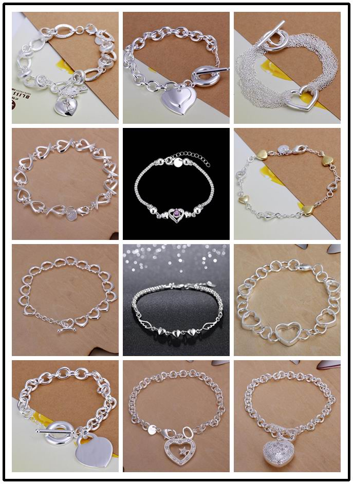 12 styles Factory Price wholesale 925 stamped silver plated Fashion bracelet/bangle Jewelry trendy women heart charm bracelets(China (Mainland))