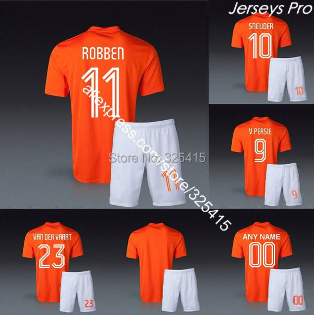 BEST QUALITY UNIFORM IN CHINA custom camisetas de futbol 2014 THE ORANGE soccer uniforms jerseys football kits robben sneijder(China (Mainland))