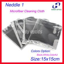 220gsm 100 pcs Neddle1 150x150mm Noir lunettes chiffon de nettoyage lentille en microfibre chiffon de nettoyage emballage individuel(China (Mainland))