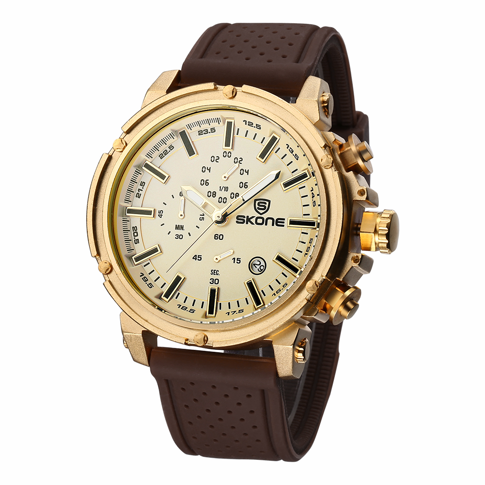 SKONE Date Chronograph Casual Sport Watches Men Waterproof Shock Resistant Quartz-watch Silicone Wrist Watch Time Hours VBO36P50(China (Mainland))