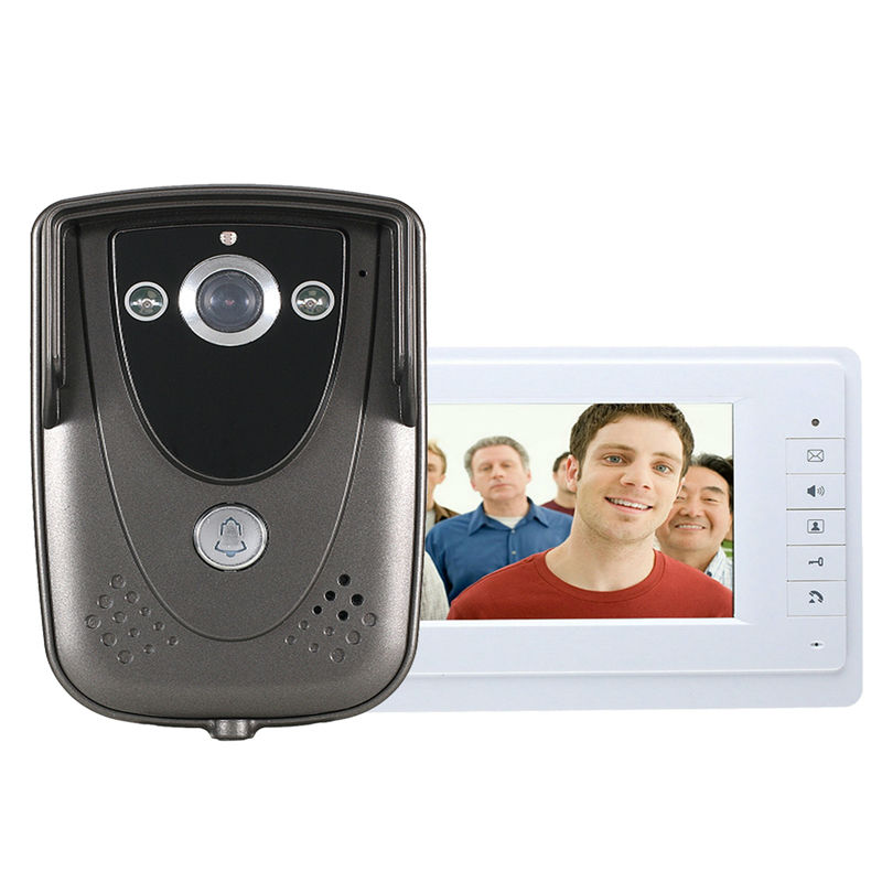 Free Shipping 7 Inch Video Door Phone Doorbell Intercom Kit 1camera 1monitor Night Vision With US Plug 150*95*45mm<br><br>Aliexpress
