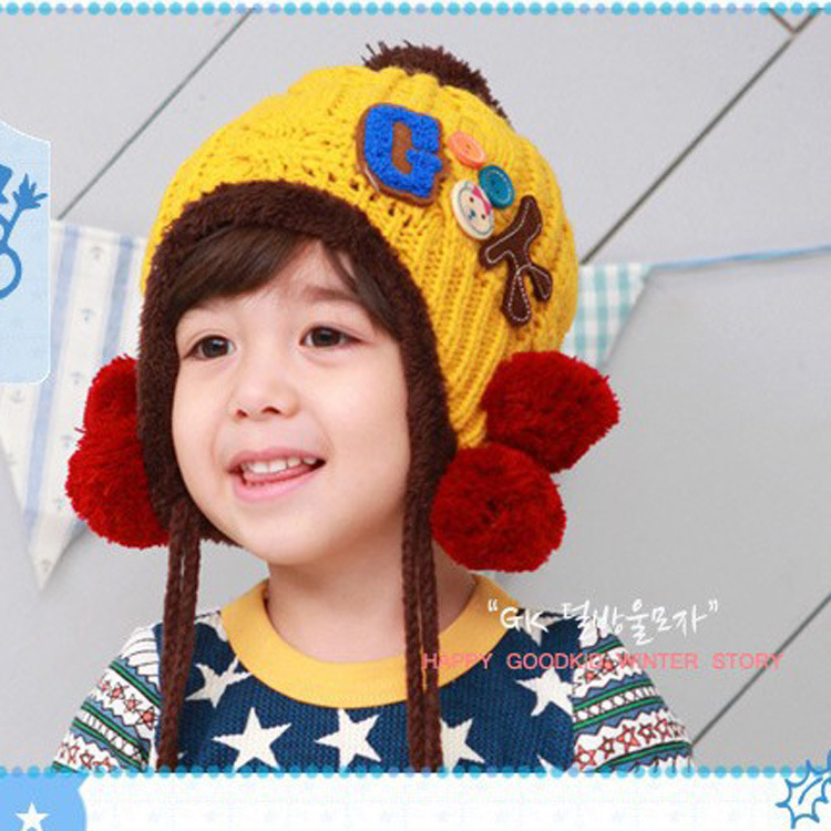 2013 new G \\ u0026 K labeling hat cap boys and girls plus velvet ear cap baby hat a generation of fat(China (Mainland))