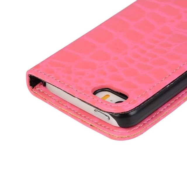 20pcs/lot Free shipping 6colours Crocodile pattern 2 card pouch leather phone case cover for iphone 5 5s se best cover case