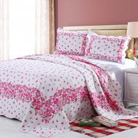 2015 hot sell 100%cotton lovely pink flower design quilt