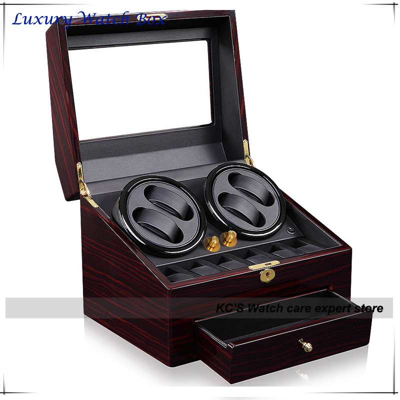 Quality Red Leather & Wood Watch Winder for RLX 4 + 6 Storage Display Case Box With A Drawer GC03-D66EB-F(China (Mainland))