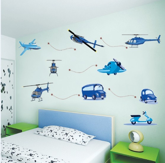 Free delivery boy favorite children's room bedroom wall stickers decorative entrance bed truck green aircraft(China (Mainland))