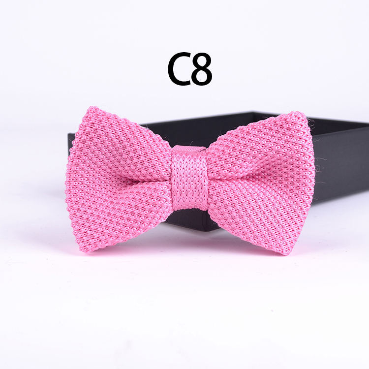 2015 solid PINK fashion knitted bowties Wedding groom knitting bow ties adjustable Tuxedo(China (Mainland))