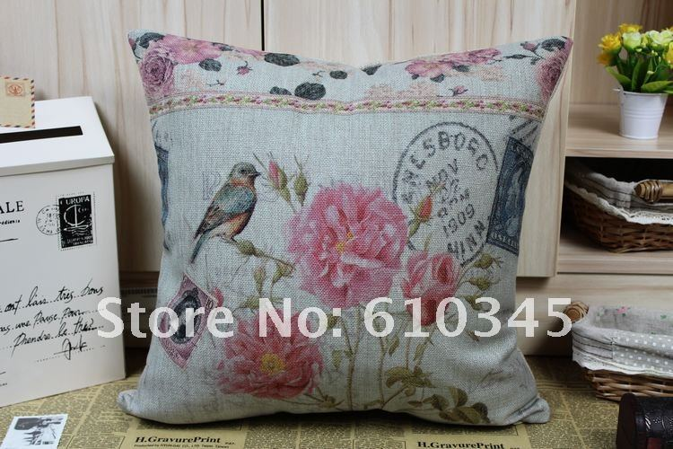 Wholesale - Free shipping Post Card Design Rose and Bird Cotton Linen Pillow Cover Printed Flower Cushion Cover T002(China (Mainland))