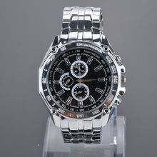7 Colors Stainless Steel Men s Wrist Watch Three Sub dials for Decoration Quartz Wrist Watch