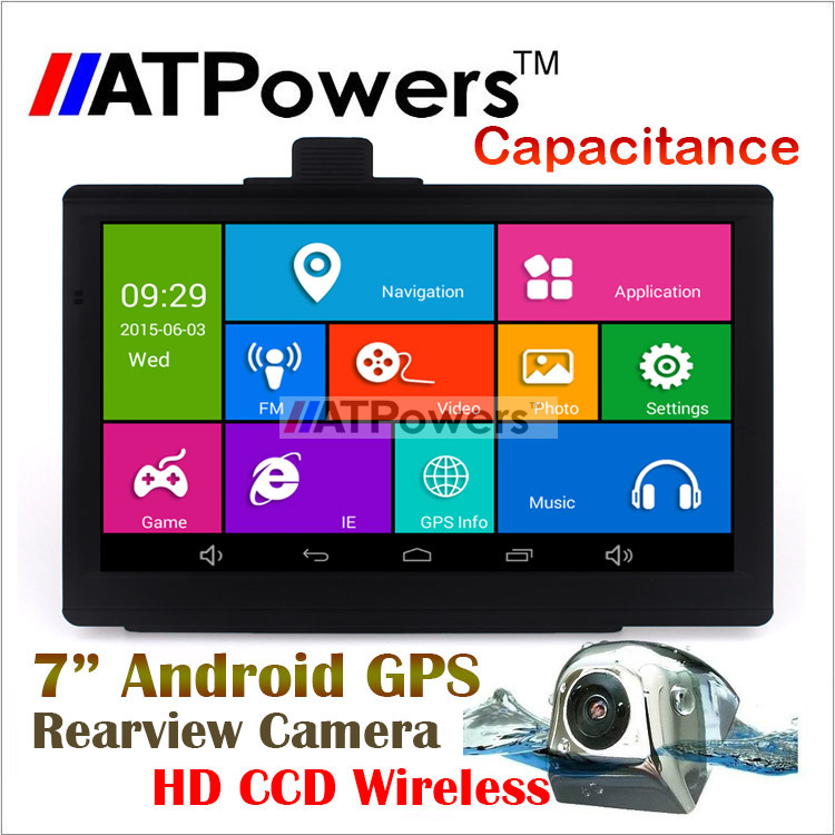 Free shipping 7 inch android 4.4 GPS MID with wireless HD CCD metal rearview camera,512 RAM, 8G. car gps navigator with wifi(China (Mainland))