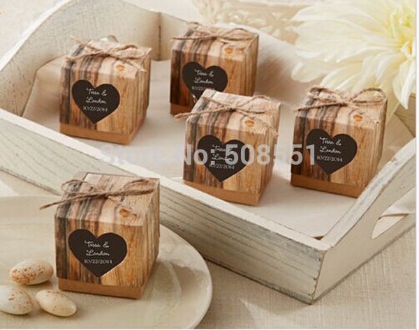 """Hearts in Love"" Rustic Wedding Candy Favor Kraft Paper Box Gift Packing Chocolate Box 24pcs(China (Mainland))"