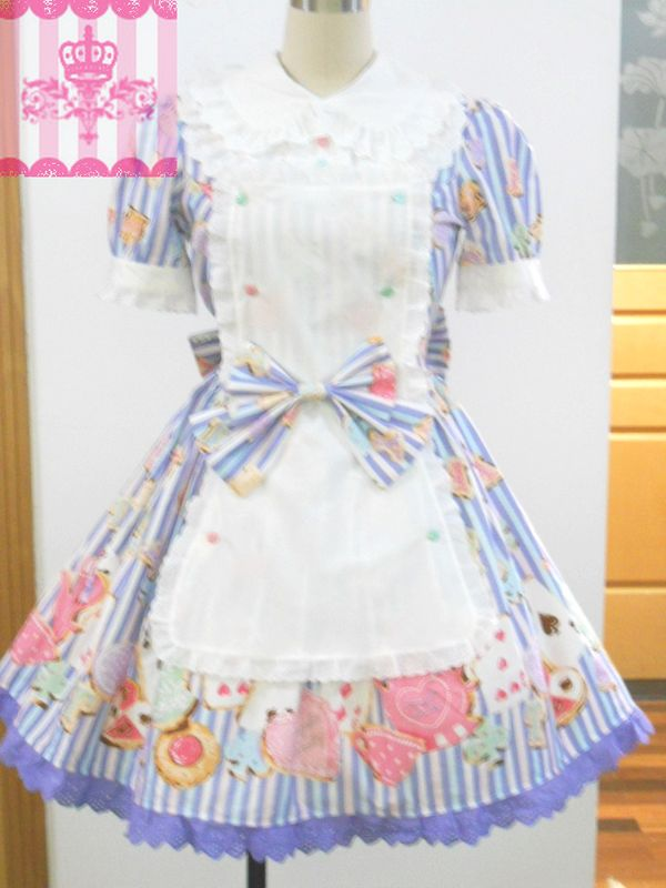 Customized 2015 Sweet/cute Cotton Short Sleeve Lace Bow Wonder Cookie OP Lolita Dresses for ladies