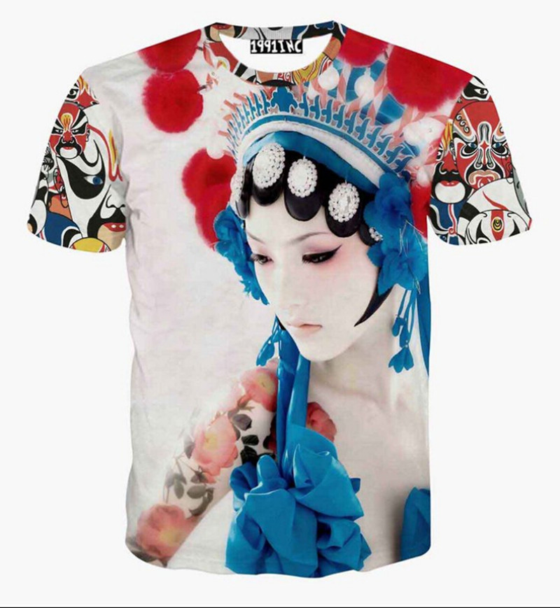 New Chinese Style 2015 Fashion Mens/Womens Beijing Opera Masks 3D Print Tee O-Neck Casual T-Shirts Short Sleeve T-shirts ST02(China (Mainland))