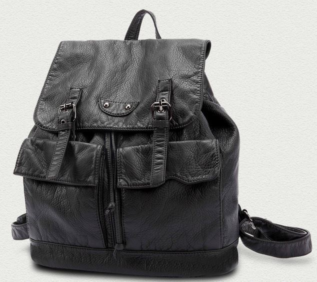 2015 New designer brand fashion black genuine leather school backpack women backpacks Travel bag Designer Brand bag ladies J290
