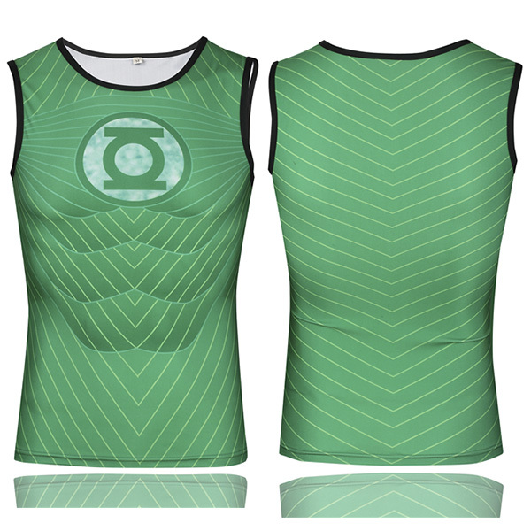Marvel Green Lantern Sleeveless T-shirt Costume Summer Compression Wear Running Shirt Quick Dry Breathable Tracksuits For Men(China (Mainland))