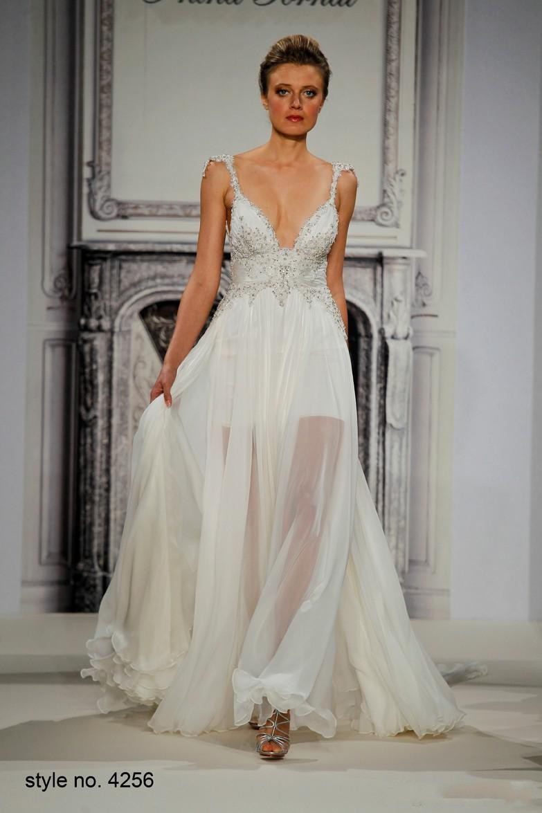 Pnina tornai wedding dresses 2015 summer spaghetti straps for Spaghetti strap backless wedding dress