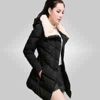 Free Shipping 2015 New Arrival Kafe Women's Down Jacket Winter Coat Warm Padded Parka Hoody Overcoat Outer wear 70
