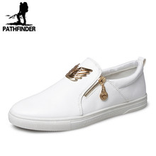 2016 New Arrival White Zip Men Casual Flats Shoes Leather Zipper Men Loafers Shoes Men Outdoor Driving Shoes Classic Style (China (Mainland))