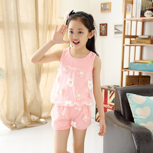 2016 New Printing Flower With Lace Baby Girls Summer Sets Cotton Girl's Clothing Set Kids Girl Vest Shorts Outfit Sets XY00104