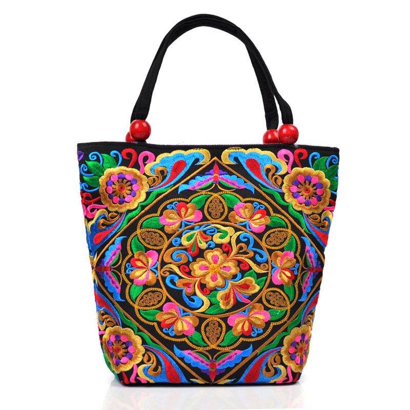 2015 New arrival woman chinese national trend embroidery canvas Handbag ethnic vintage flower square Tote bag(China (Mainland))