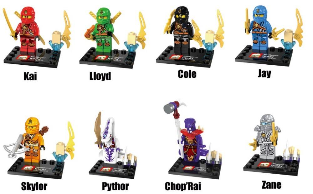 10*JX1010 Building Blocks Super Heroes Avengers Phantom NInja MiniFigures Kai Lloyd Cole Chop Zane Rai Jay Pythor Skylor Figures
