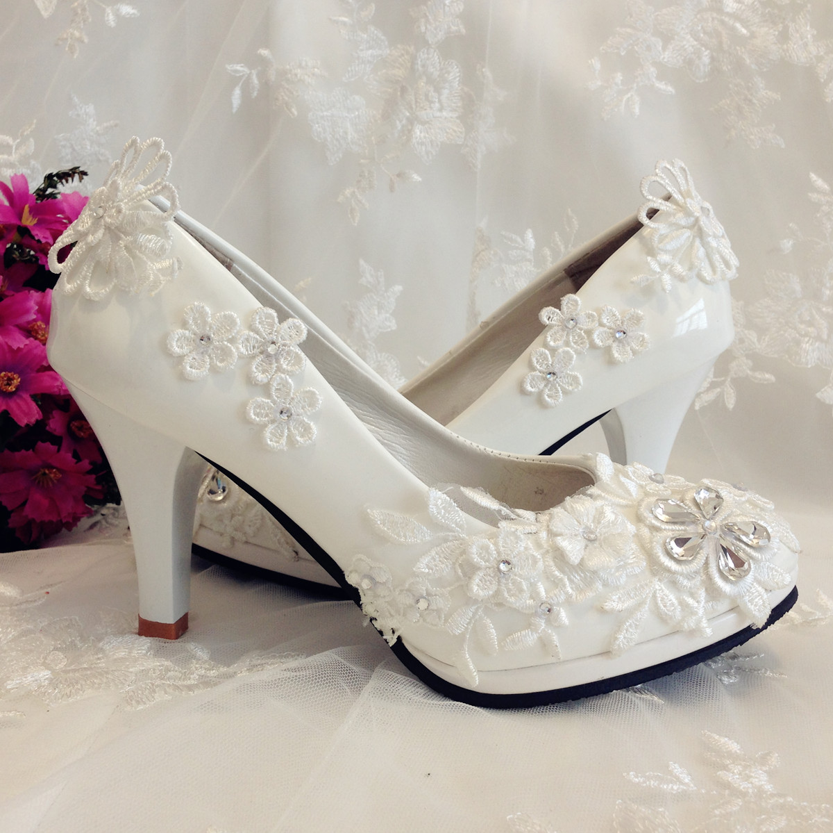 2014 new patent leather white pumps plus size wedding shoes bridal bridesmaid lace luxury crystal diamond dress