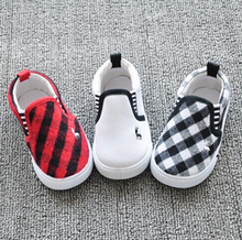 2015 New spring autumn baby shoes boys and girls fashion plaid canvas shoes kids sneakers sapato infantil for 1-4T 740A(China (Mainland))