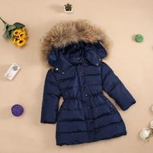 2016 winter child down coat baby children's clothing female child children raccoon fur down coat medium-long fashion family