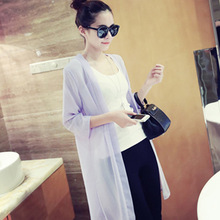 Beach Cover Up Blouse Women V-Neck Loose Half Sleeve Tops Solid W/Chiffon Long Blouse Lady Sunscreen Cardigan Tops Blusas New