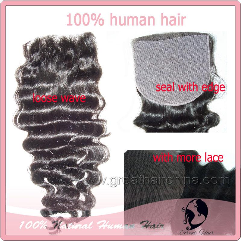 """lace closure lace top closure(3.5""""*4"""" & 4""""*4"""")lace closure with bundles Loose wave 8""""-20"""" natural Color free shiping(China (Mainland))"""