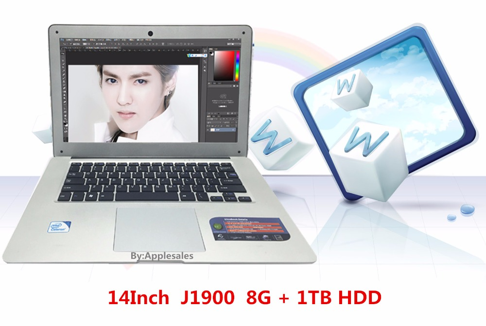 Cheap 14inch Laptop Computer Notebook Windows 7/8 Qual Core J1900 8G+1TB HDD Wifi tablet with SD card PC Ultrabook 1.99 GHz(China (Mainland))