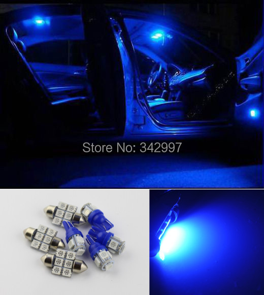 Free shipping,10pcs Super Blue 8000K SMD LED Interior Package & License Plate Tag Lights For 2003 - 2013 Ford Expedition(China (Mainland))