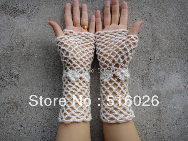 wholesale Crochet Lace Gloves, Bridal Fishnet Glove Fingerless, Hand jewelry, Classic, wrist, Dance, white and black 4 pair/lot