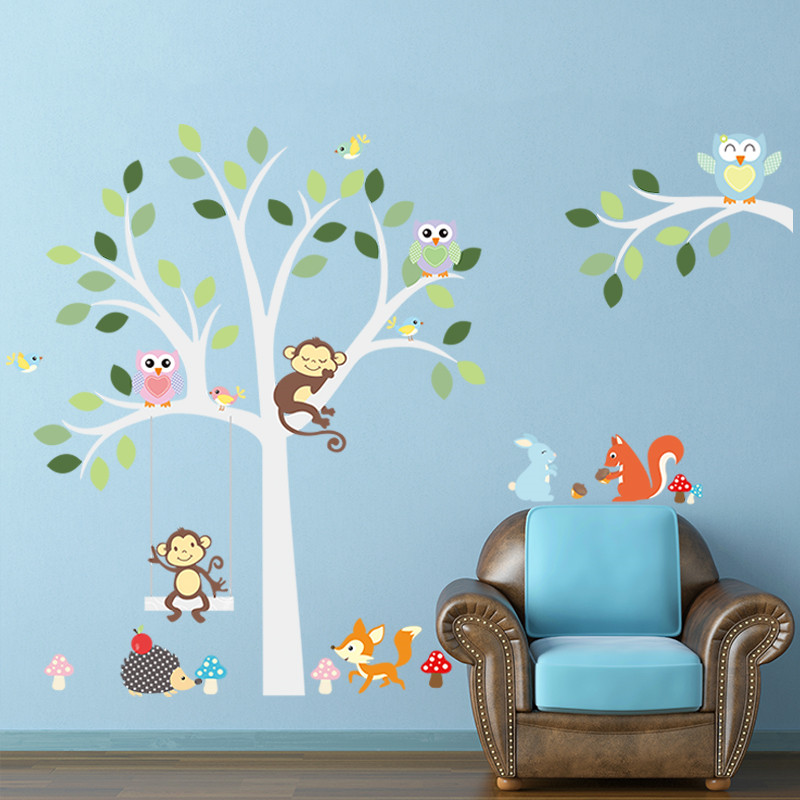 large newest warm color DIY Animal Zoo Monkey Deer Squirrel Hedgehog Turtle tree home decal wall sticker kids room decor(China (Mainland))