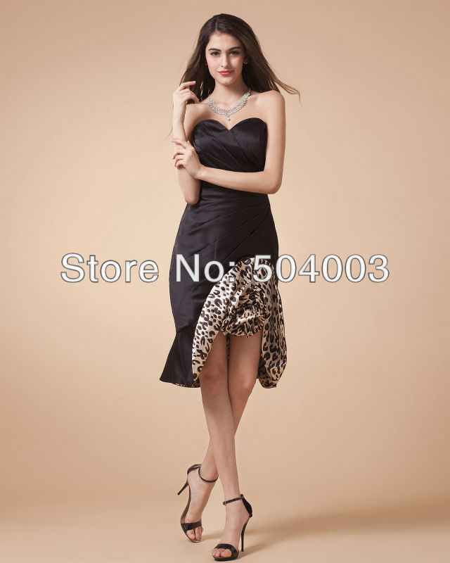 Free Shipping 2016 New Style Pleated Sexy Leopard Sweetheart Knee Length Fashion Cocktail Dresses Custom-made(China (Mainland))