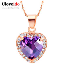 Heart Ruby Jewelry 925 Sterling Silver Pendant Purple Crystal Necklaces Rose Gold Love Colar for Women Free Shipping Ulove N561(China (Mainland))
