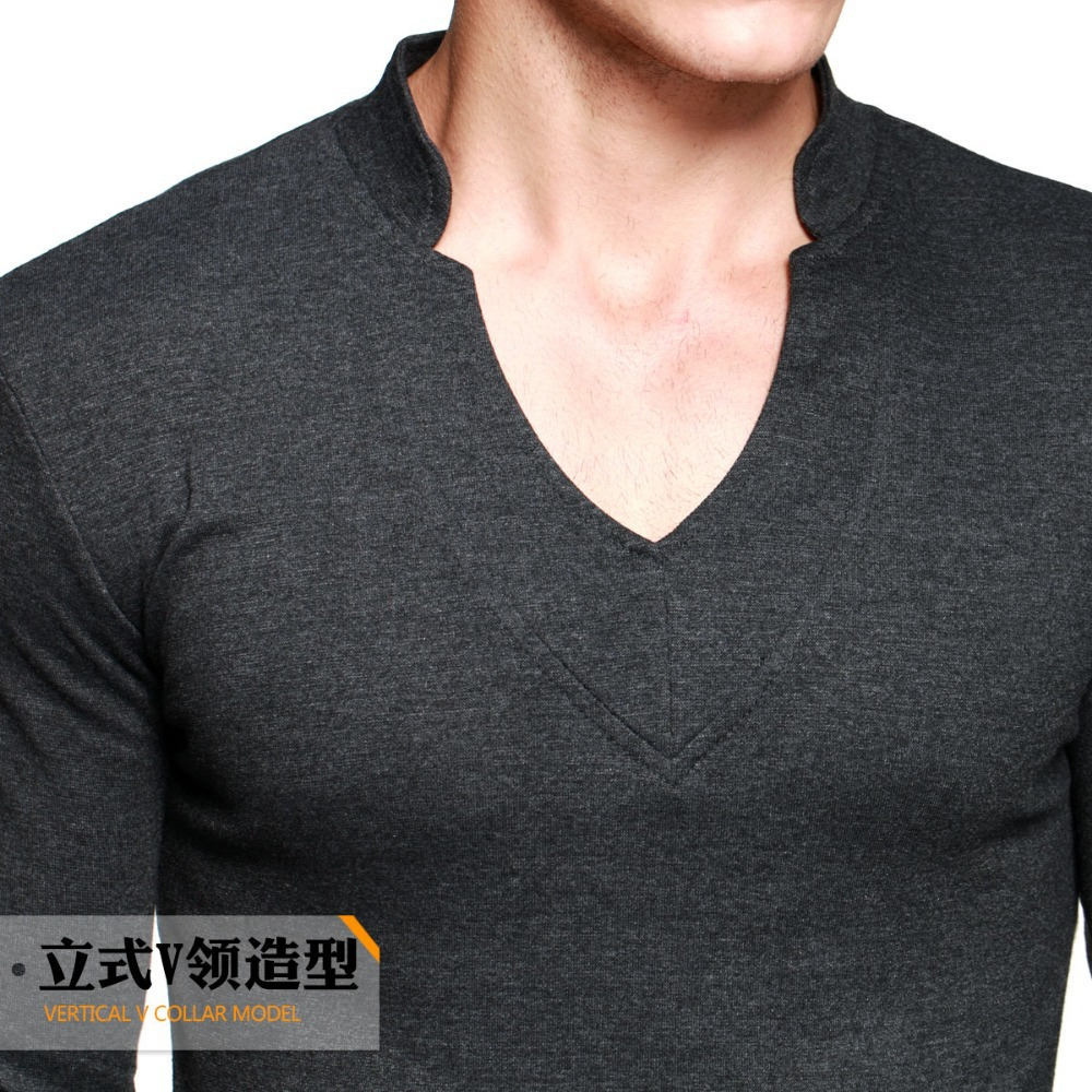 Thick t shirt men 39 s long sleeve brand tee v neck t shirt for Thick t shirts brands