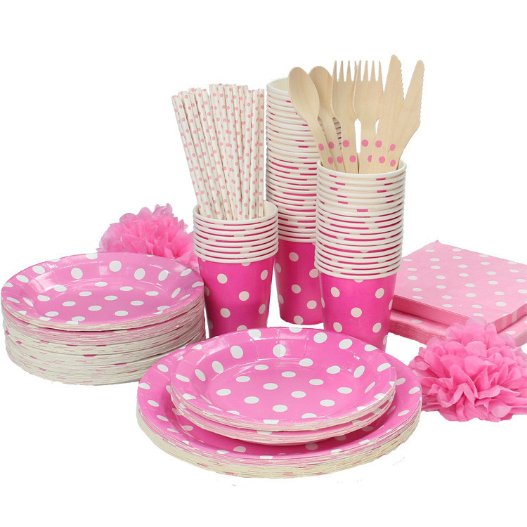 Promotion Rose Red & White Polka Dots Tableware Party tablecover plate cups napkins paper straw Cutlery Set Knives Forks Spoons(China (Mainland))
