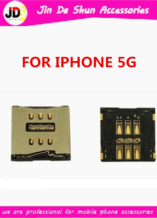 50pcs/lot free shipping Sim Card Connector Reader Tray Socket for iPhone 5 5G