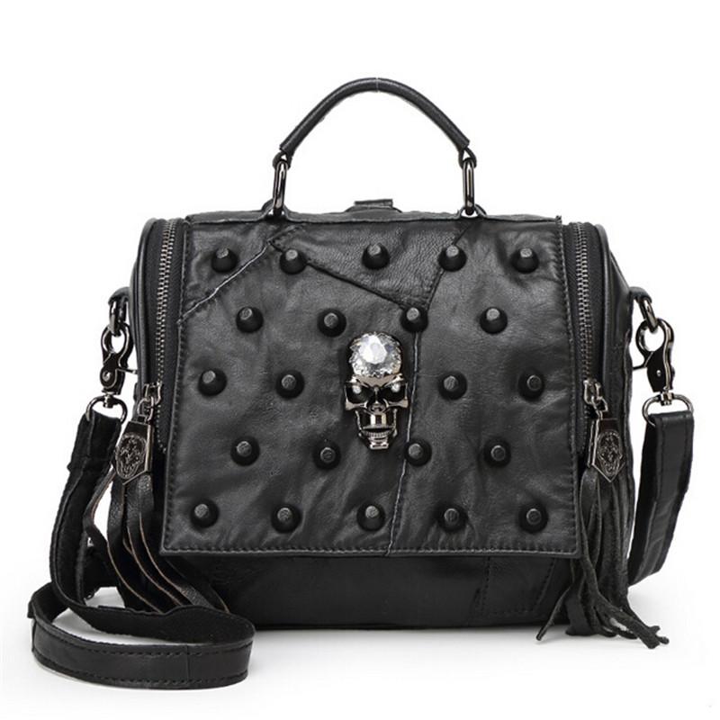 2016 Rock Style Tote Women Handbags Skull Rivet Chain Genuine Leather Shoulder Messenger Bags <br><br>Aliexpress