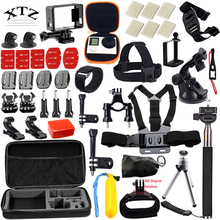 DSDACTION Gopro accessories Set EVA case Head Strap Monopod For Go pro Hero 4 5 3 / xiaomi yi action camera kit 54-in-1 12F(China (Mainland))
