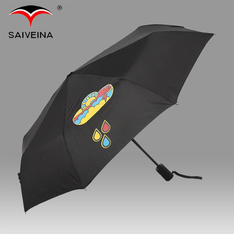 SAIVEINA Pongee Fabric Change Color Parasol 8 ribs Mini Full Automatic Women Rain Umbrellas(China (Mainland))