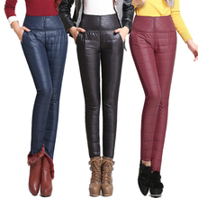2015 New Winter Pants High Waisted Outer Wear Women Fashion Slim Warm Windproof Plus Velvet Thick Down Pants Trousers(China (Mainland))