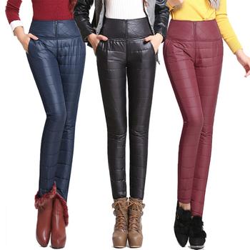 Зима брюки высокая высокой талией внешний женщины приталенный тёплый ветрозащитный ...