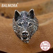 BALMORA 100% Реальные 925 Чистая Стерлингового Серебра Ювелирные Изделия Панк Волк кольца для Мужчин Мужской Уличный Праздник Подарок Anillos Высокое Качество SY20687(China (Mainland))