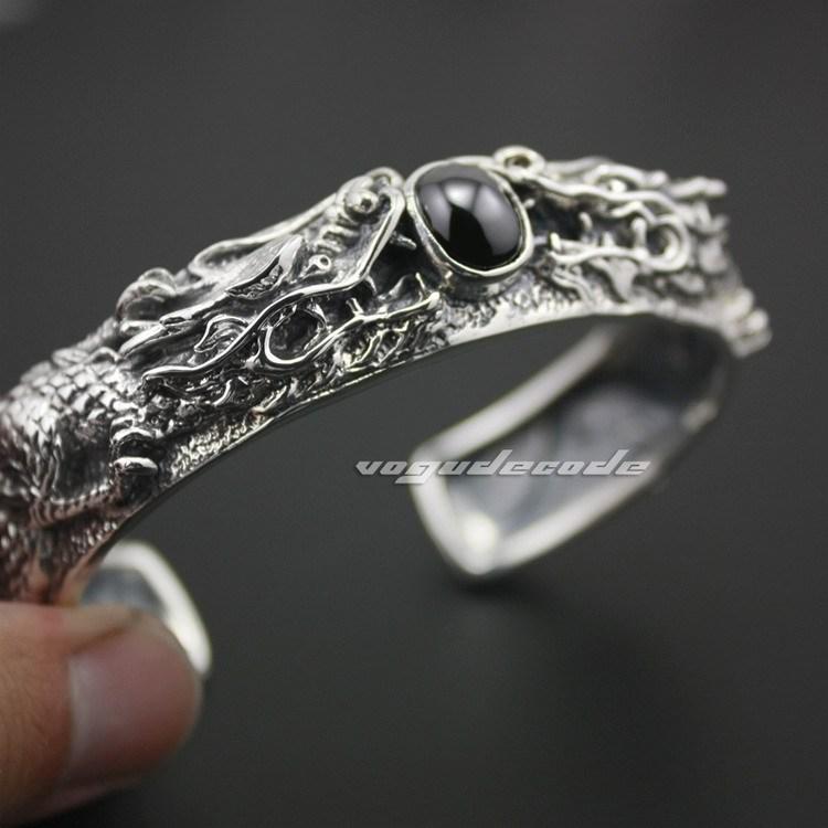 Huge &amp; Heavy Solid 925 Sterling Silver Black Onyx Mens Dragon Bangle 9B004<br><br>Aliexpress
